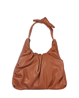 Palm Ruched Leather Bag, , hi-res