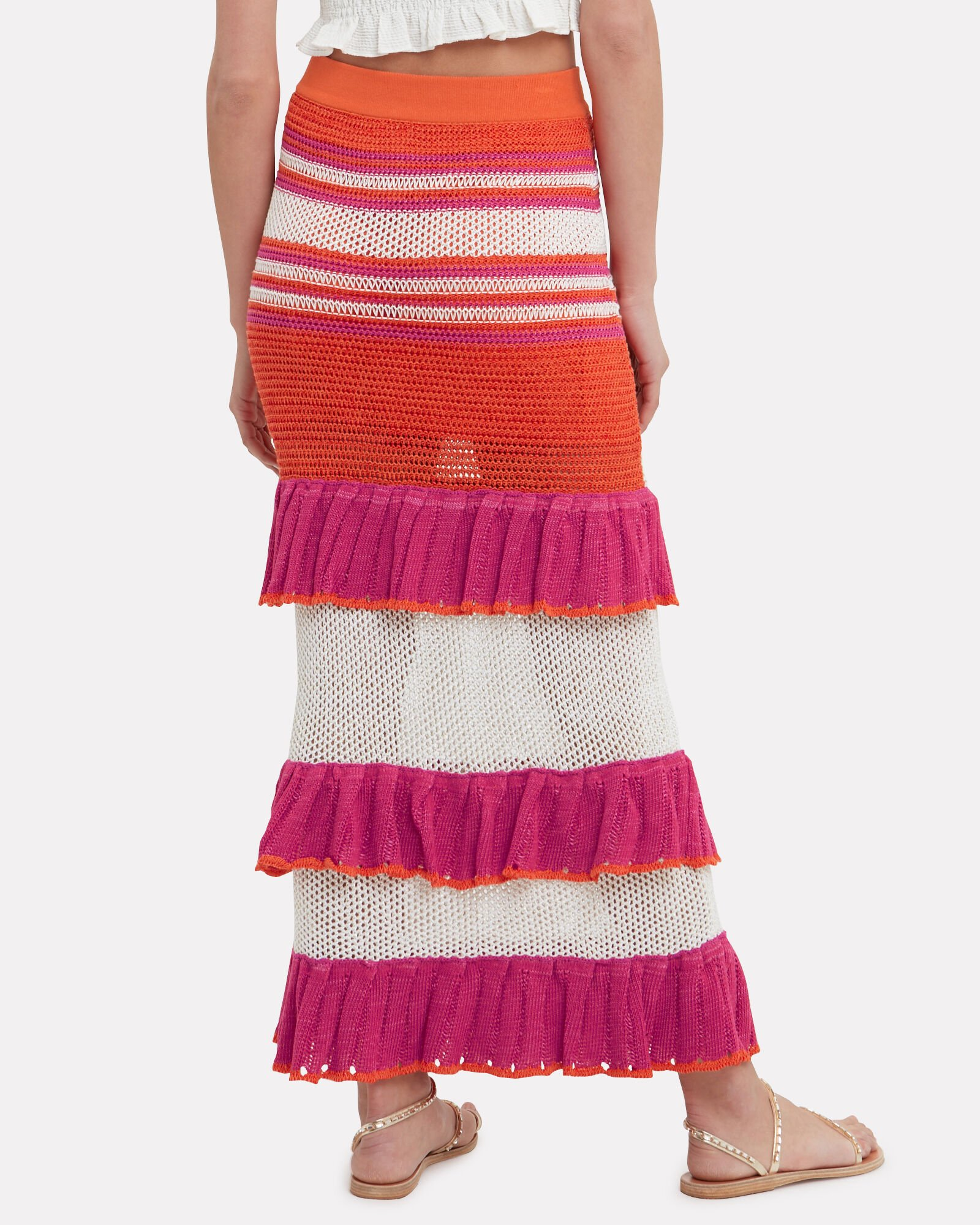Carmen Ruffle Midi Skirt, ORANGE/PINK/WHITE, hi-res