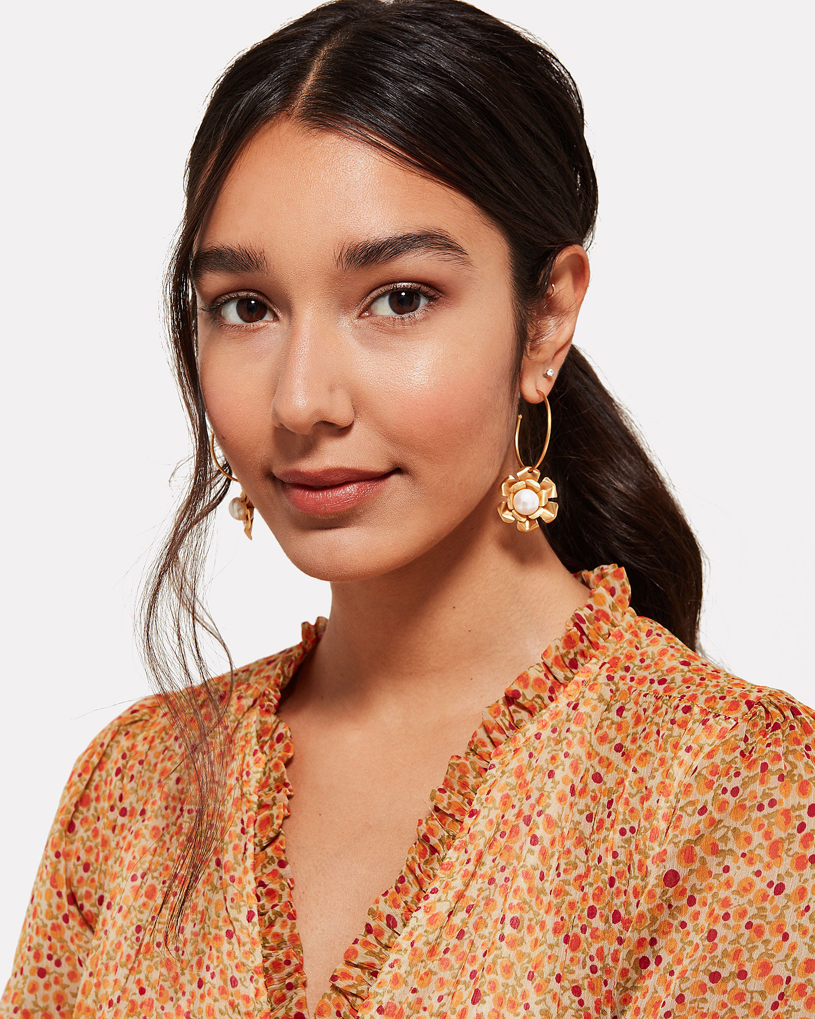 Flower and Pearl Earrings, GOLD, hi-res