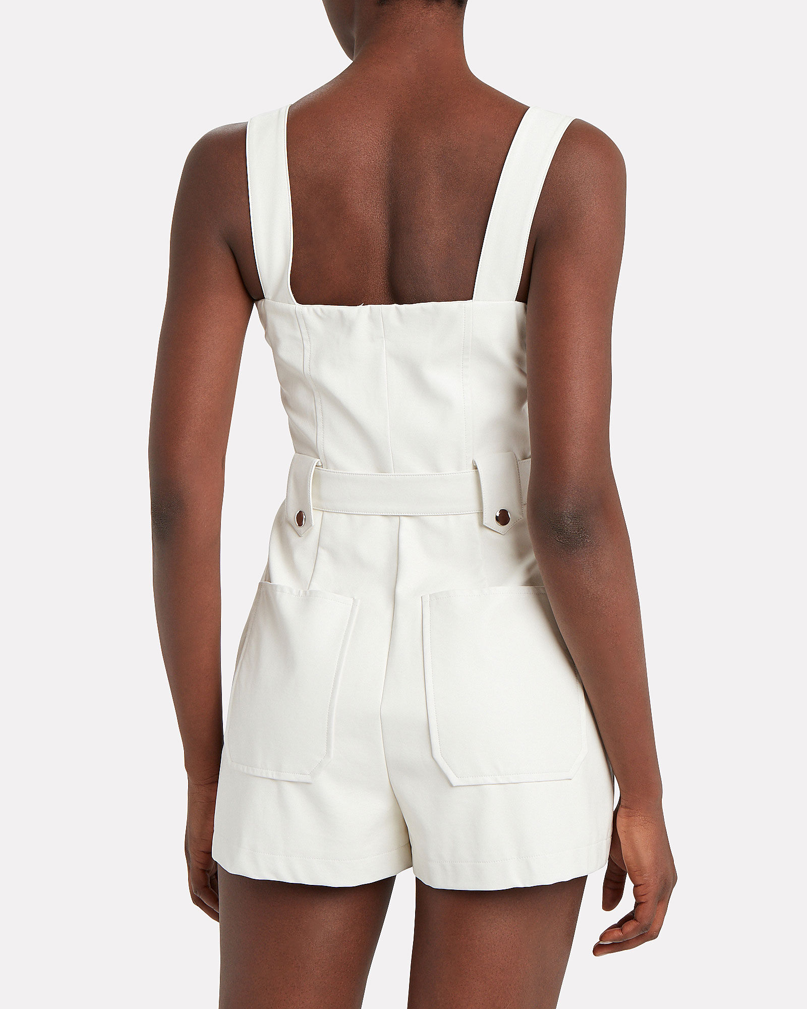 Moto Vegan Leather Short Overalls, WHITE, hi-res