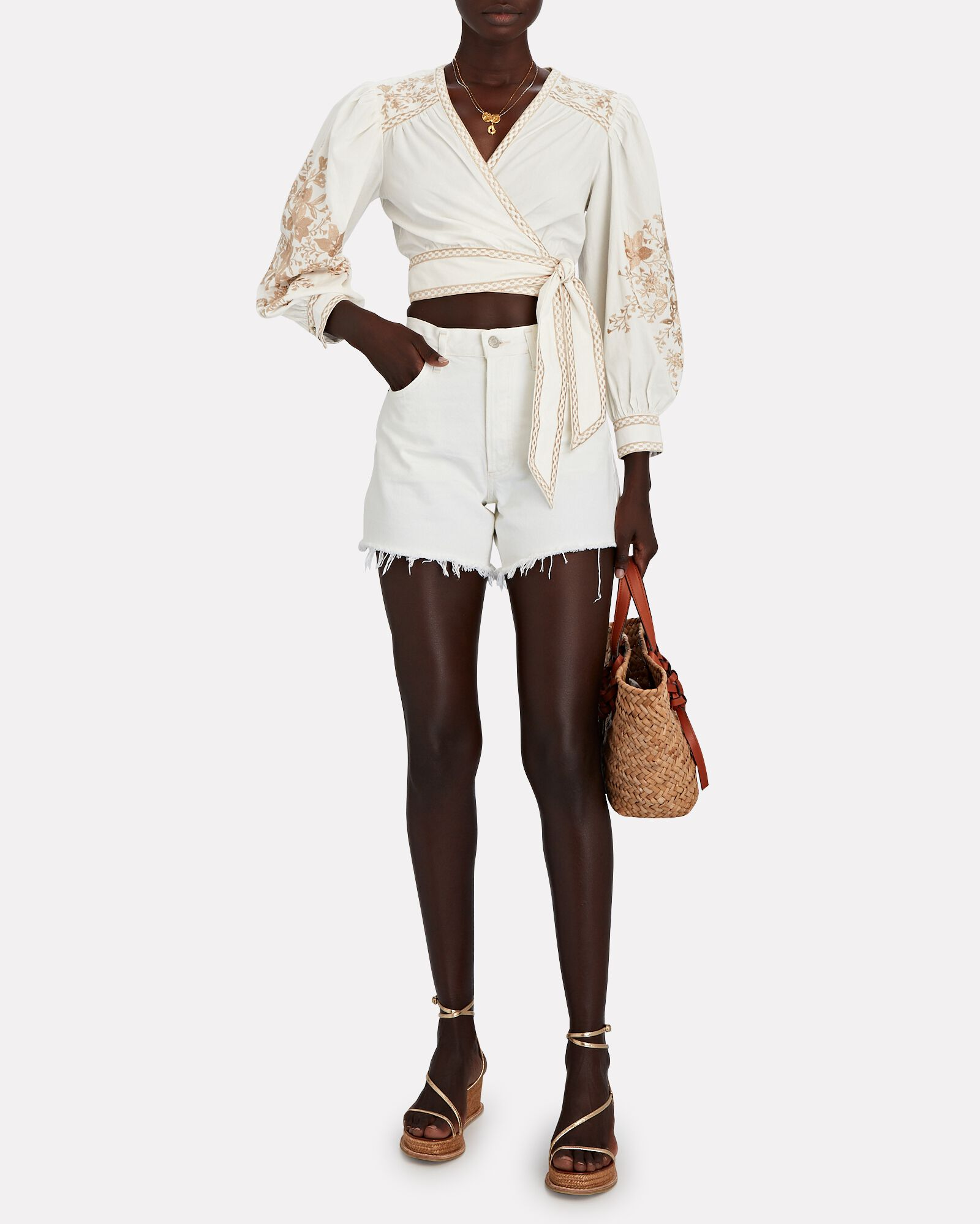 Billy Floral Embroidered Wrap Blouse, BEIGE, hi-res