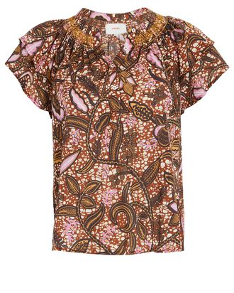 Sumer Batik Ruffle Cotton Top, BROWN/PINK, hi-res
