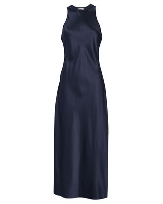 Silk Racerback Maxi Dress, NAVY, hi-res