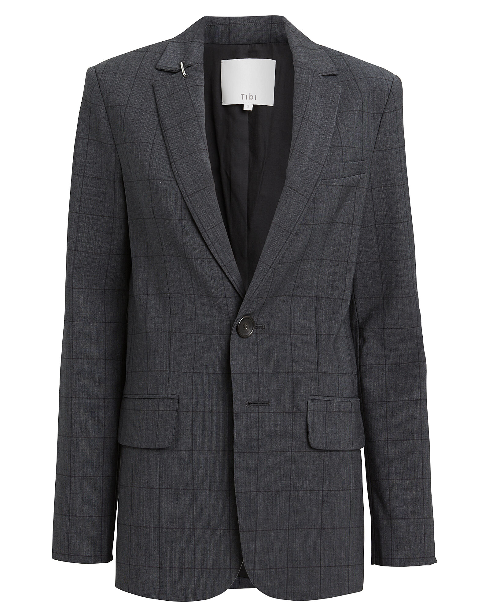 Menswear Windowpane Blazer, GREY/CHECK, hi-res
