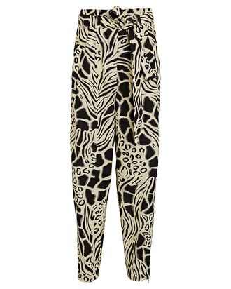 Abstract Printed Cotton-Linen Pants, BLK/WHT, hi-res