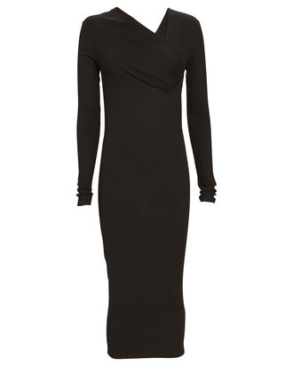 Asymmetrical Rib Knit Midi Dress, BLACK, hi-res