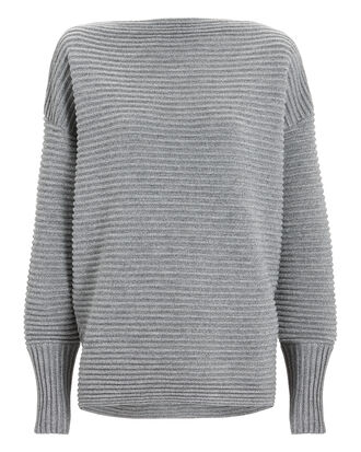 Grey Rib Off Shoulder Sweater, GREY, hi-res