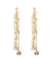 Mixed Stone Chain Drop Earrings, IVORY, hi-res