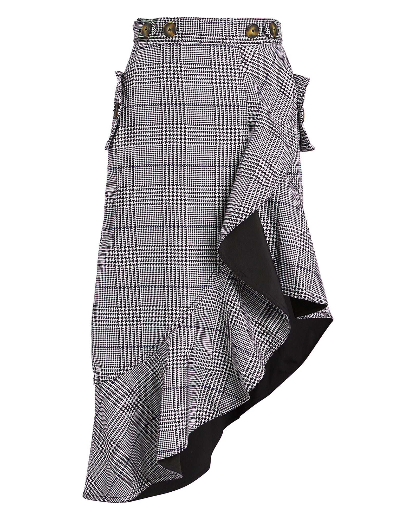 Ruffled Plaid Asymmetric Skirt, GREY/PLAID, hi-res