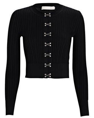 Rib Knit Hook Front Cardigan, BLACK, hi-res