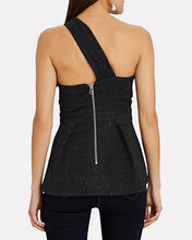 Sufiana One-Shoulder Moiré Top, BLACK, hi-res