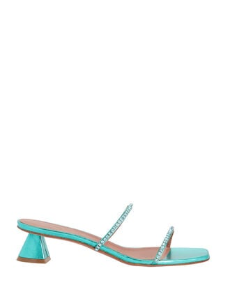 Gilda Metallic Slide Sandals, GREEN, hi-res
