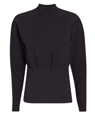 Military Rib Knit Mock Neck Sweater, NAVY, hi-res