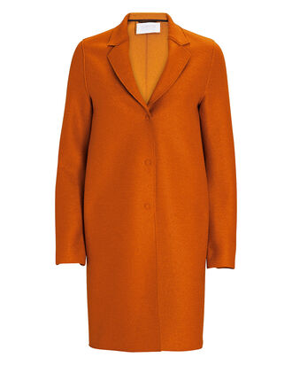 Cocoon Pressed Wool Coat, YELLOW, hi-res
