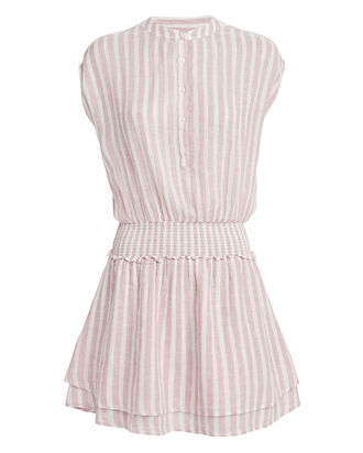 Angelina Linen Dress, BLUSH/STRIPE, hi-res