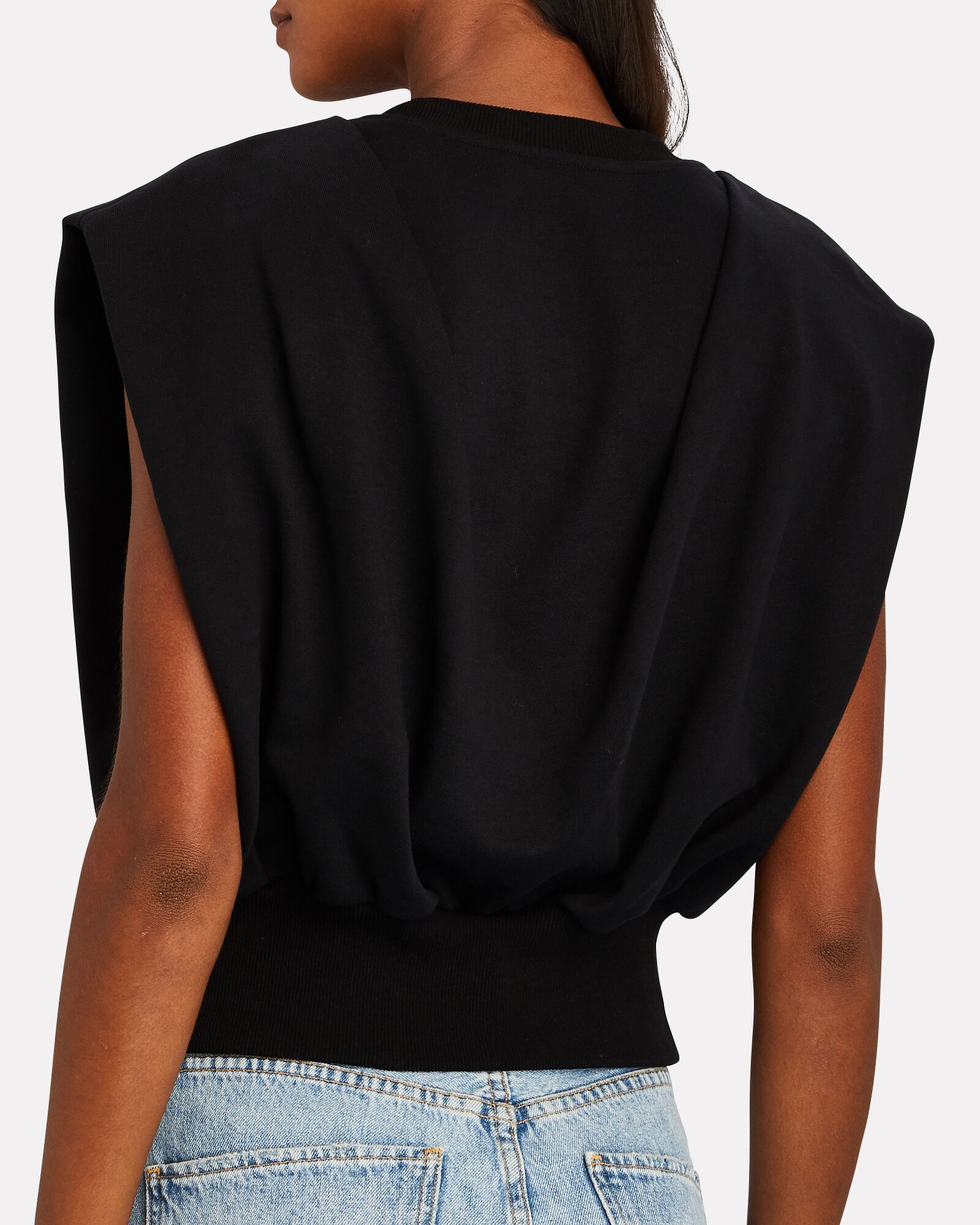 Padded Shoulder French Terry Top, BLACK, hi-res
