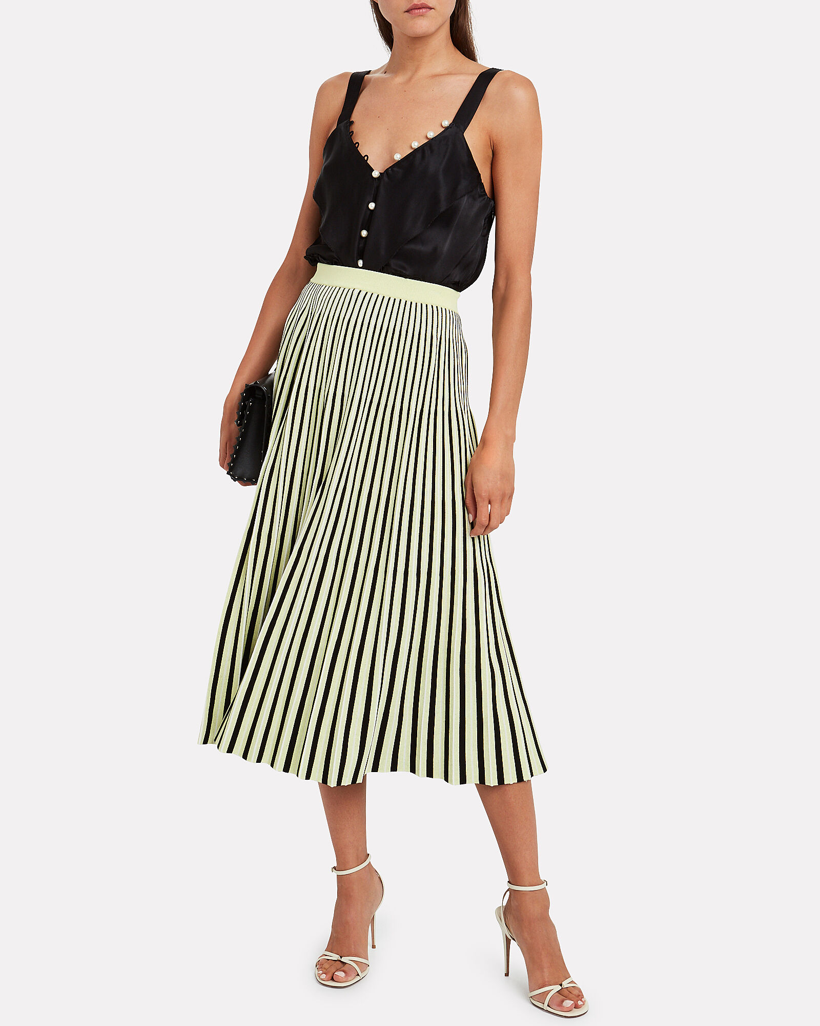 Jacquard Striped Pleated Midi Skirt, NEON YELLOW/STRIPE, hi-res