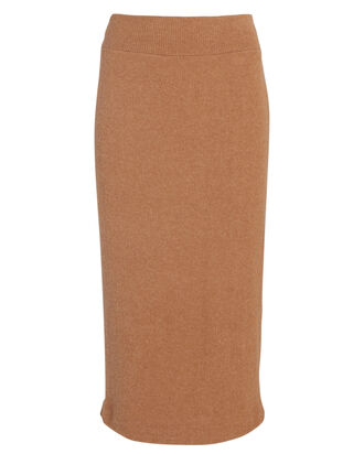 Rib Knit Midi Skirt, BROWN, hi-res