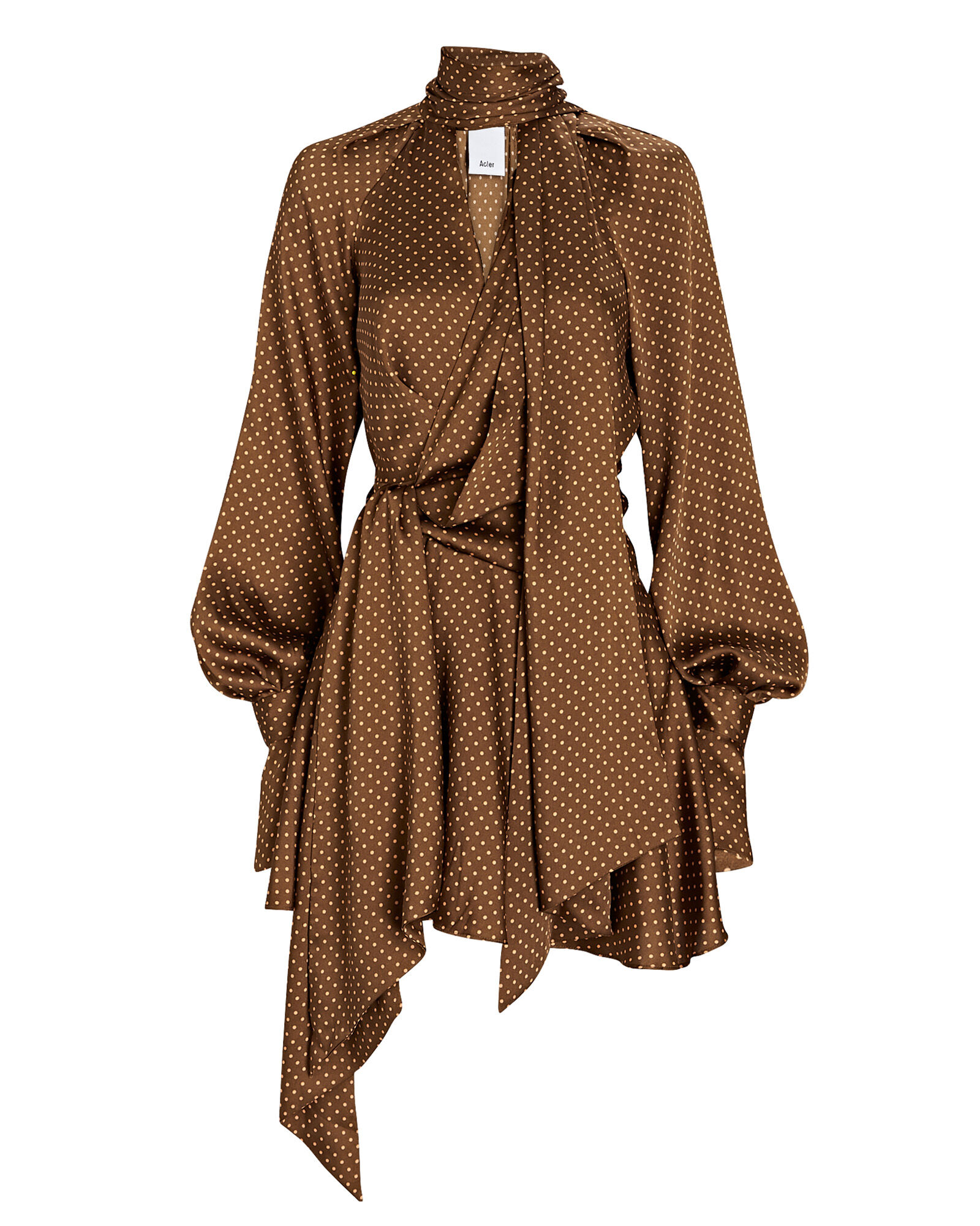 Woolmore Polka Dot Tie-Neck Dress, BROWN, hi-res