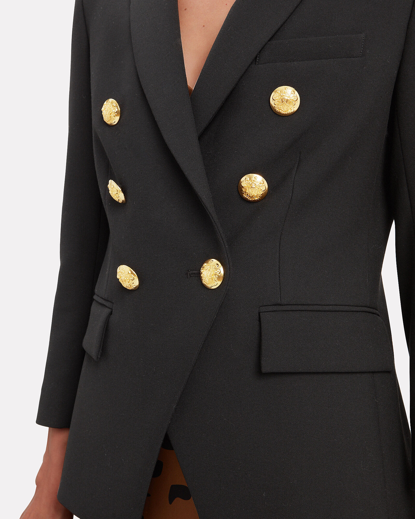 Empire Double Breasted Blazer, BLACK, hi-res