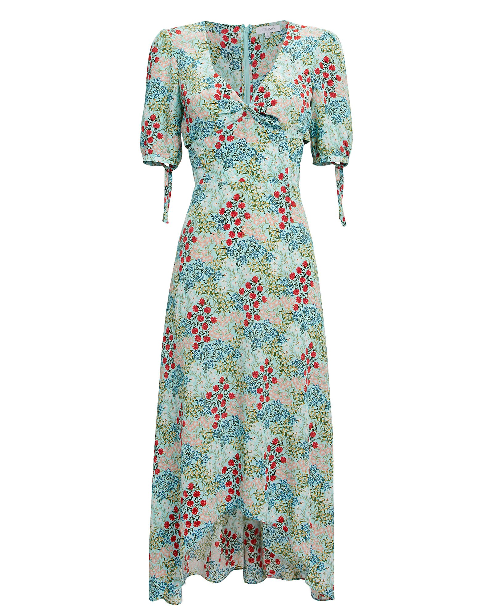 Nessa Silk Floral High-Low Dress, TURQUOISE, hi-res