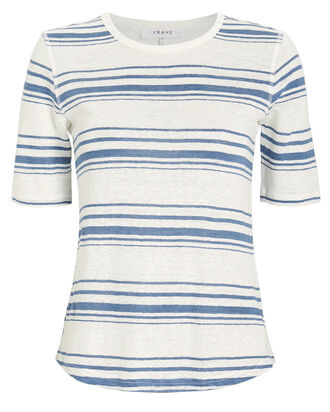 70's Striped Linen T-Shirt, WHITE/BLUE STRIPE, hi-res