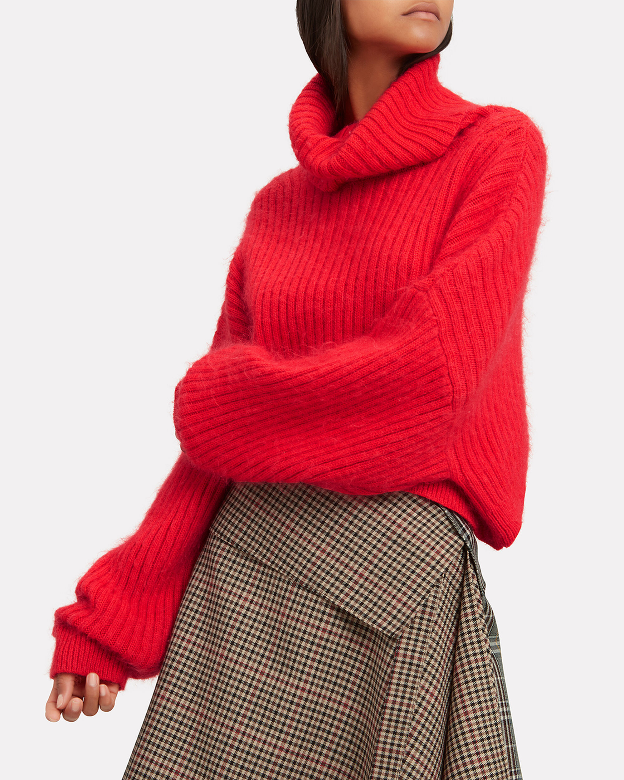 Oversized Red Mohair Turtleneck, RED, hi-res