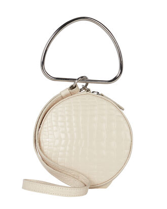 Croc-Embossed Round Leather Wristlet, IVORY, hi-res