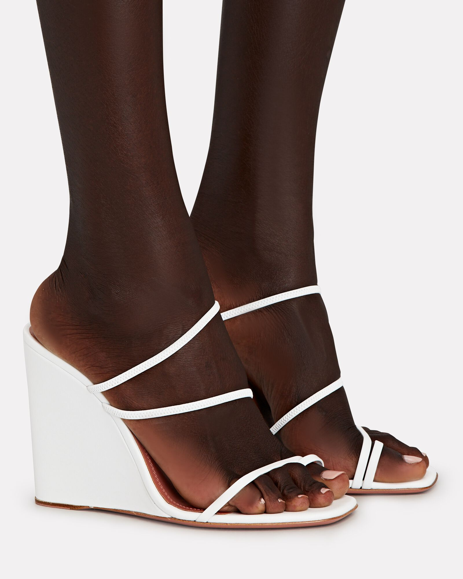 Naima Strappy Leather Wedge Sandals, WHITE, hi-res