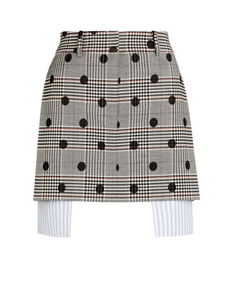 Polka Dot Plaid Mini Skirt, GREY, hi-res