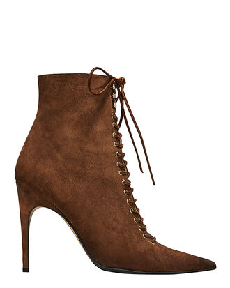 Brown Suede Lace-Up Booties, BROWN, hi-res