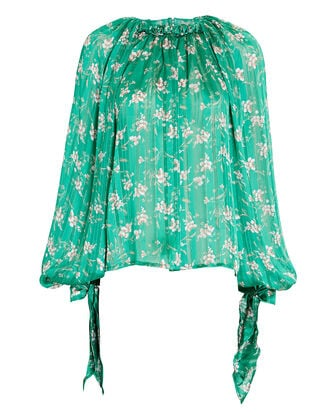 Amal Floral Balloon Sleeve Blouse, GREEN, hi-res