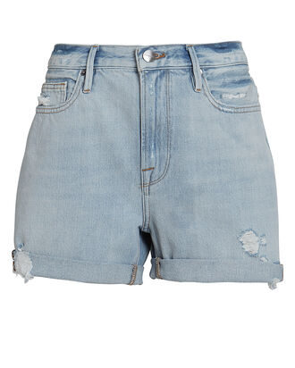 Le Beau Cuffed Denim Shorts, CANTER RIPS, hi-res