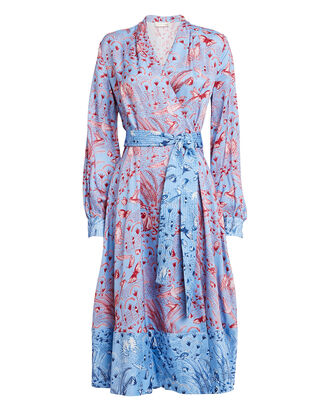 Reflection Printed Wrap Dress, PALE BLUE/PINK FLORAL, hi-res