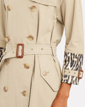 Leopard Cuff Double-Breasted Trench Coat, BEIGE, hi-res