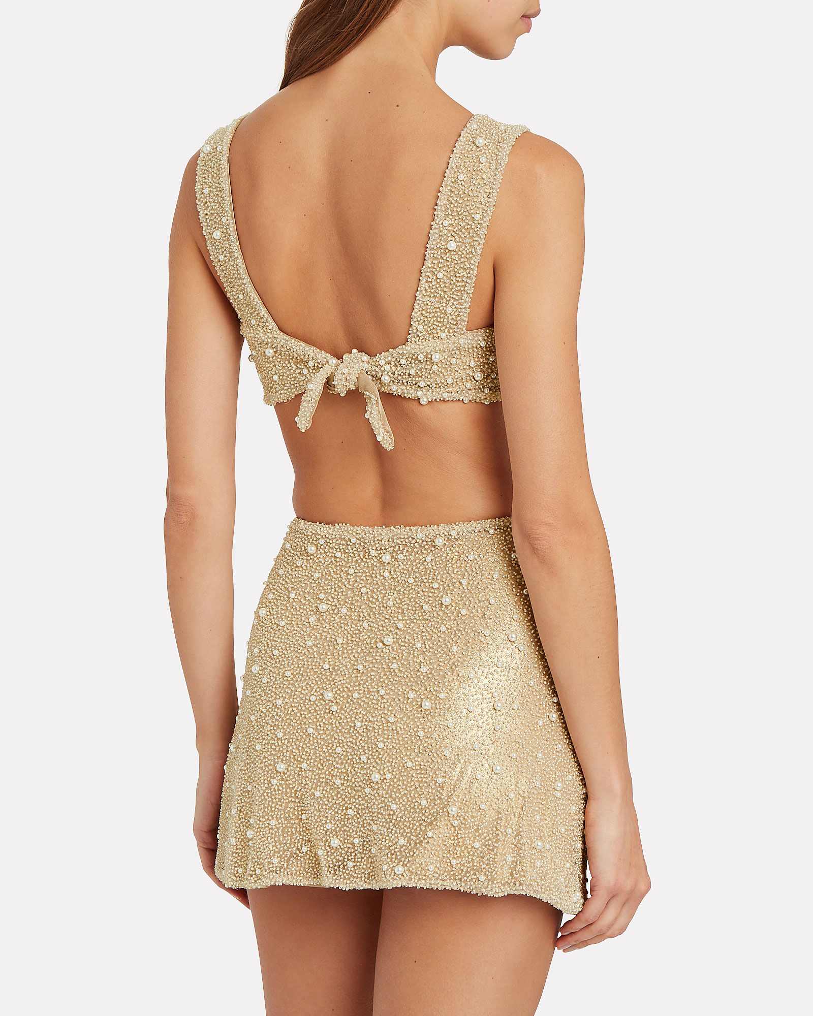 Mare Beaded Crop Top, GOLD, hi-res