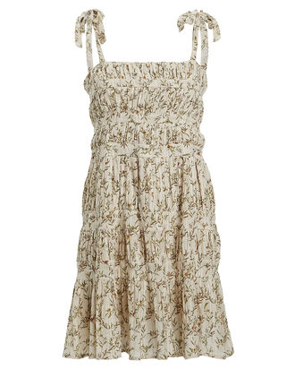 Alba Leaf-Printed Mini Dress, BEIGE/GREEN, hi-res