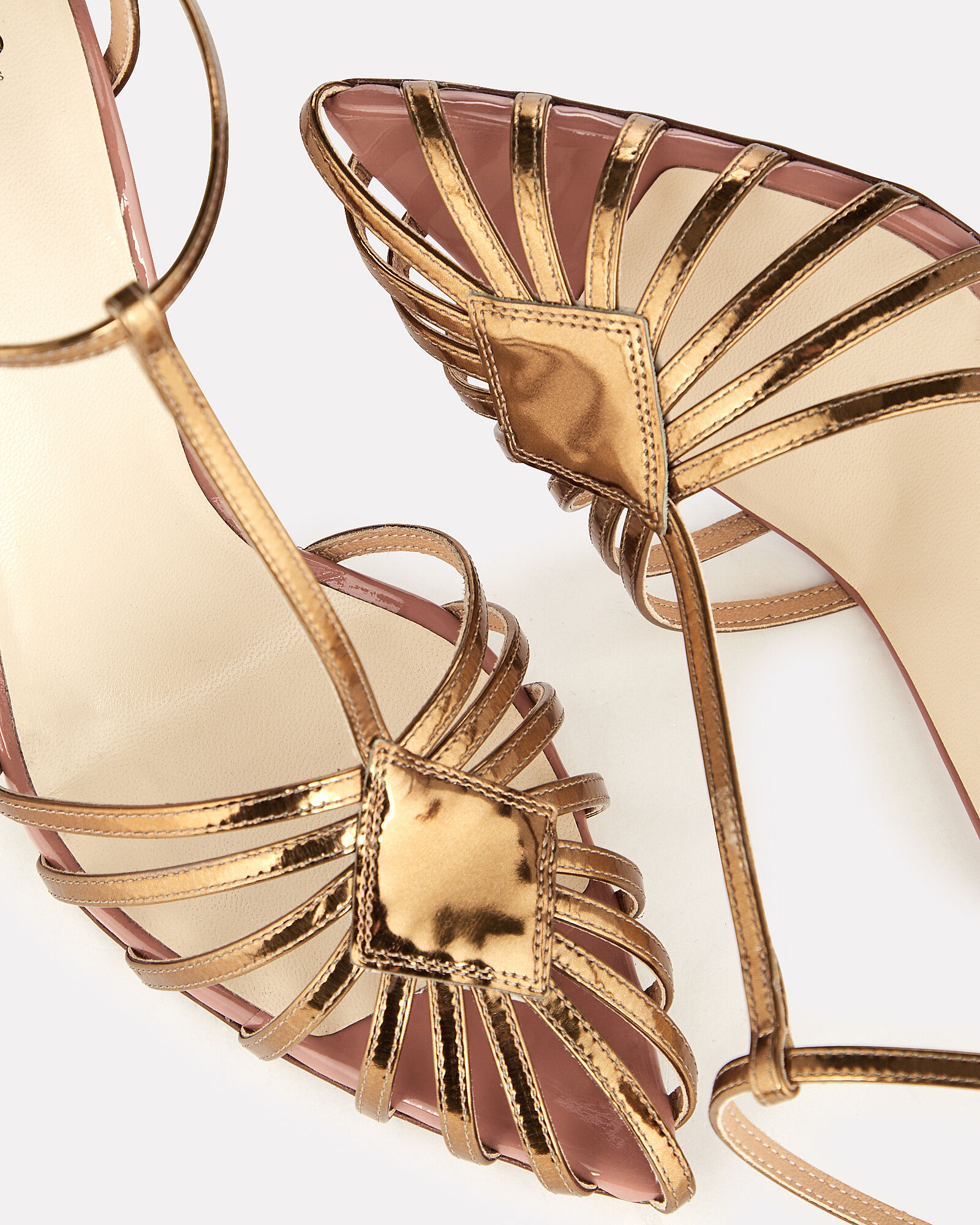 T-Strap Patent Leather Cage Sandal, GOLD, hi-res