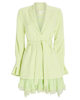 Victoria Lace-Trimmed Blazer Dress, GREEN-LT, hi-res