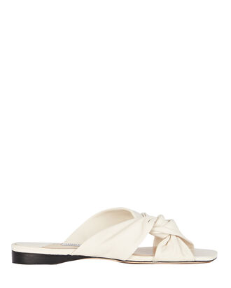 Narisa Leather Slide Sandals, WHITE, hi-res