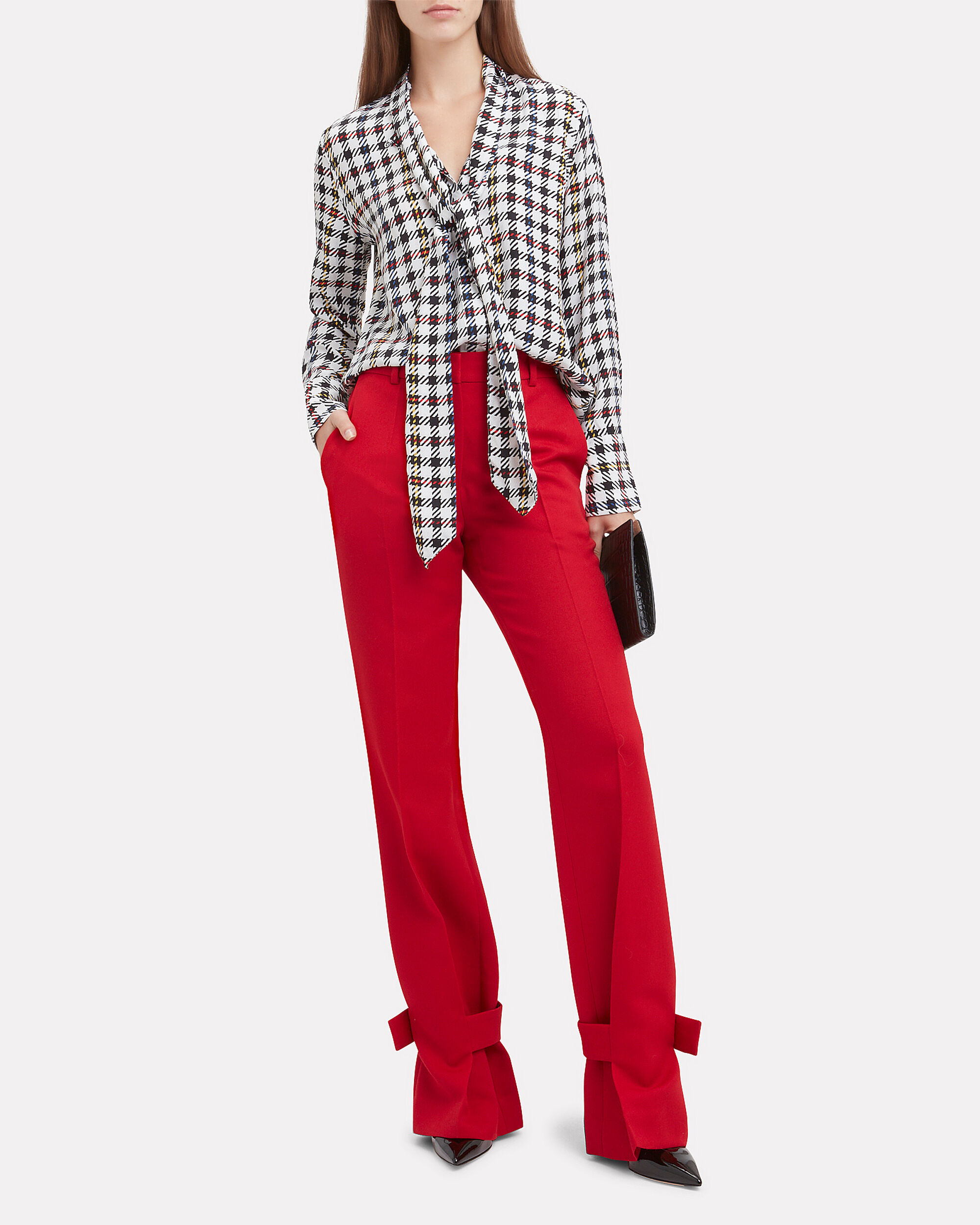 Red Wrapped Ankle Trousers, RED, hi-res