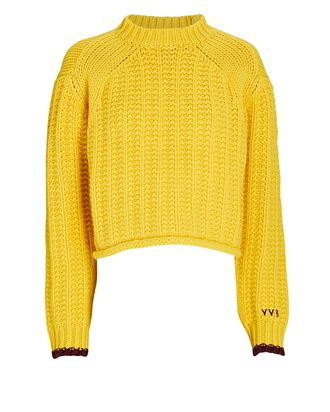 Alpine Cropped Wool Sweater, YELLOW, hi-res