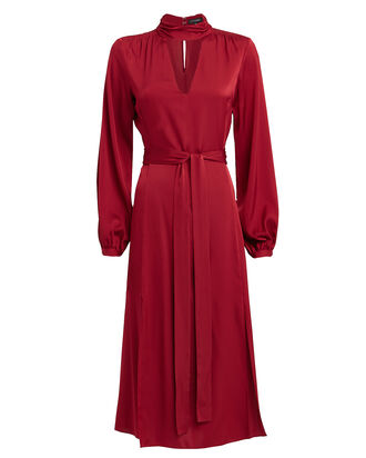 Victoria Silk Midi Dress, BRICK RED, hi-res