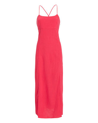 Josephine Linen Maxi Dress, CORAL, hi-res