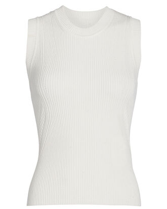 Abby Sleeveless Rib Knit Top, IVORY, hi-res