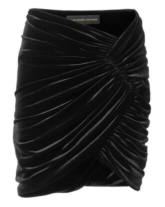 Ruched Velvet Mini Skirt, BLACK, hi-res
