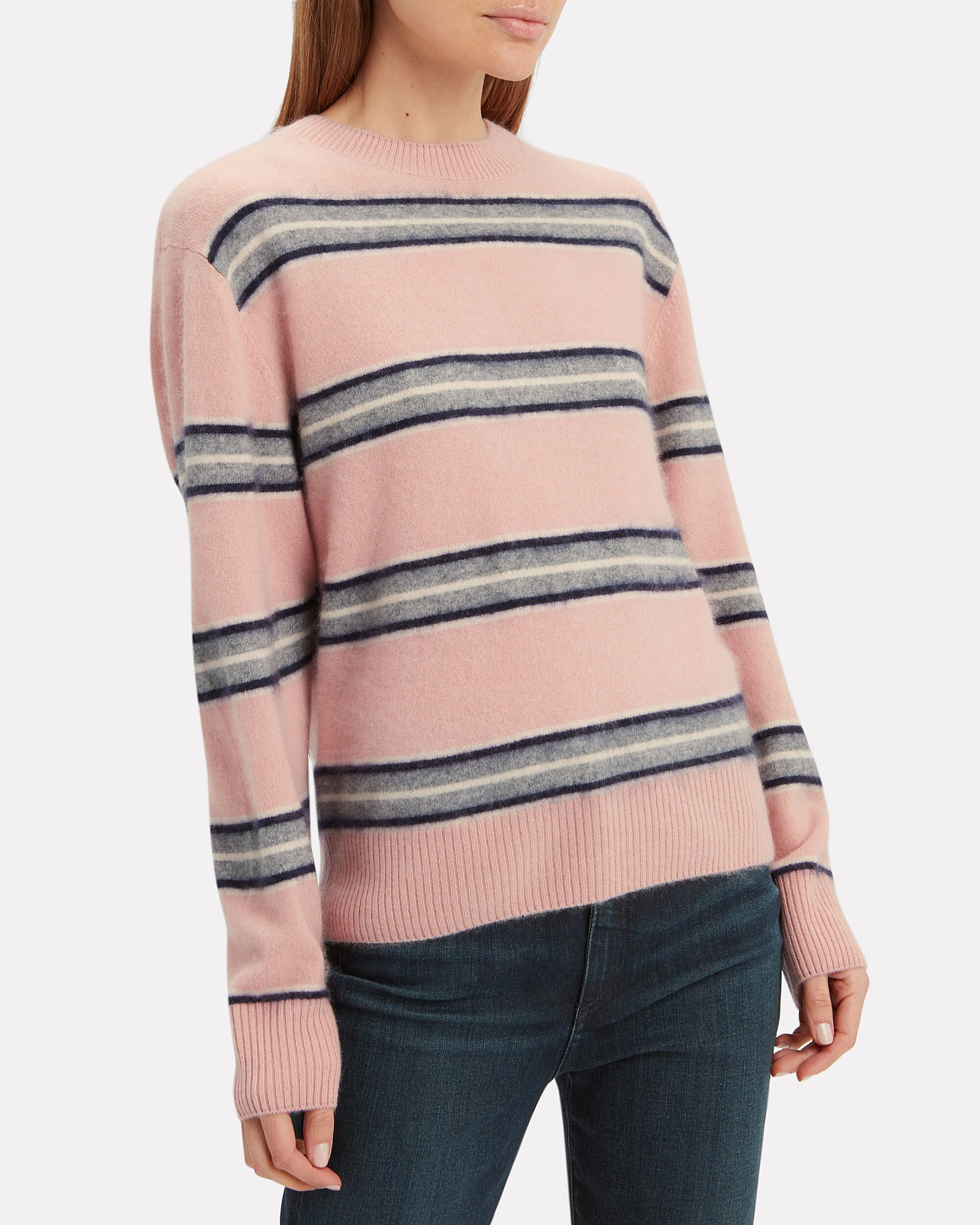 Salene Striped Cashmere Sweater, BLUSH, hi-res