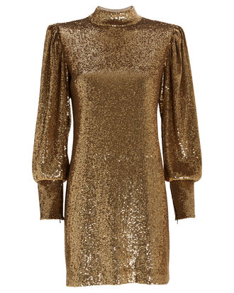 Christy Sequin-Embellished Shift Dress, GOLD, hi-res