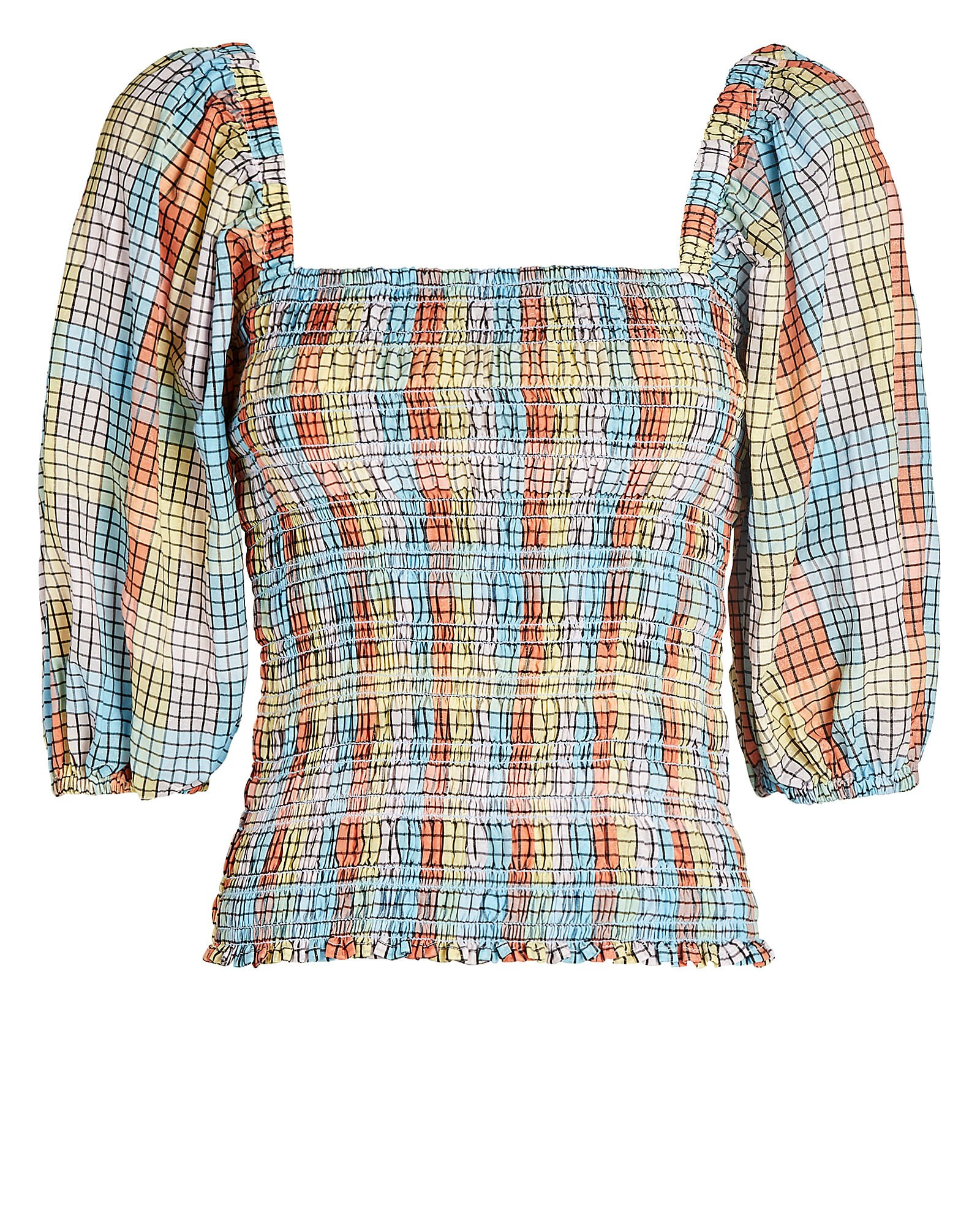Smocked Check Puff Sleeve Top, BLUE/ORANGE, hi-res