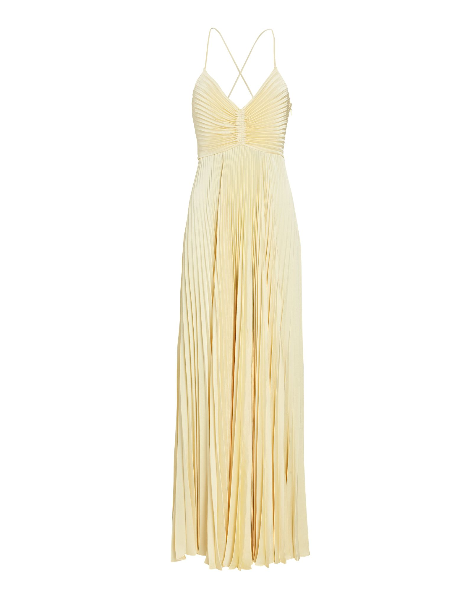 Aries Pleated Cut-Out Gown, YELLOW, hi-res